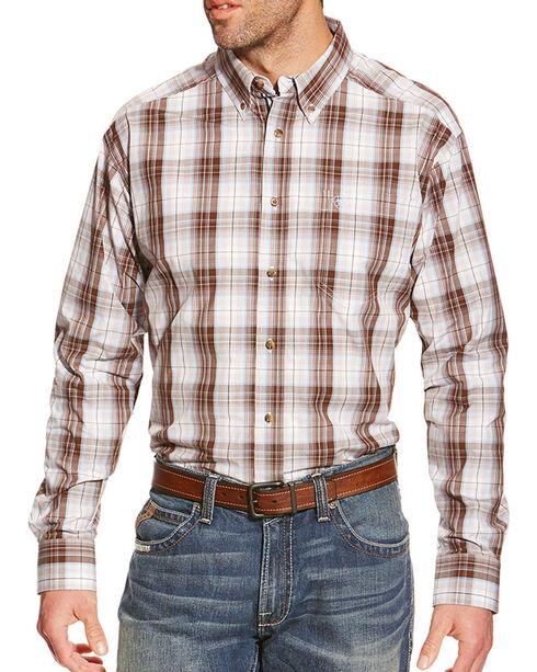 Ariat Men's Plaid Printed Long Sleeve Shirt, Brown, hi-res