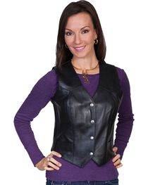 Scully Western Lamb Leather Vest, , hi-res