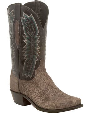 Lucchese Men's Harrison Charcoal/Black Sueded Sheep Western Boots - Square Toe, Grey, hi-res