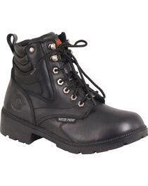 Milwaukee Leather Women's Waterproof Side Zipper Boots - Round Toe, Black, hi-res