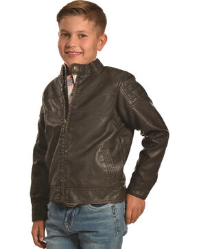 Cody James Boys' Devils Bend Moto Jacket, Brown, hi-res