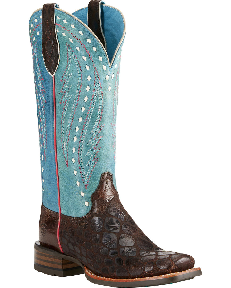 Ariat Women's Callahan Chocolate/Teal Cowgirl Boots - Square Toe, Chocolate, hi-res