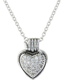 Montana Silversmiths Rancher's Heart Necklace, Silver, hi-res