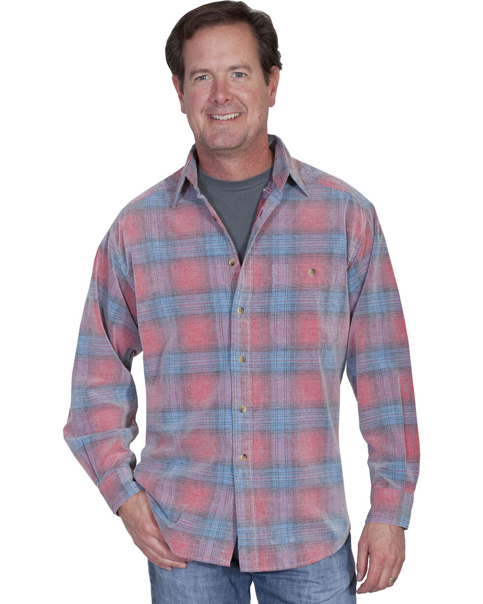 Scully Men's Yard Dye Corduroy Plaid Shirt, Red, hi-res