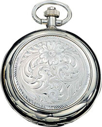 Montana Silversmiths Engraved Western Pocket Watch, , hi-res