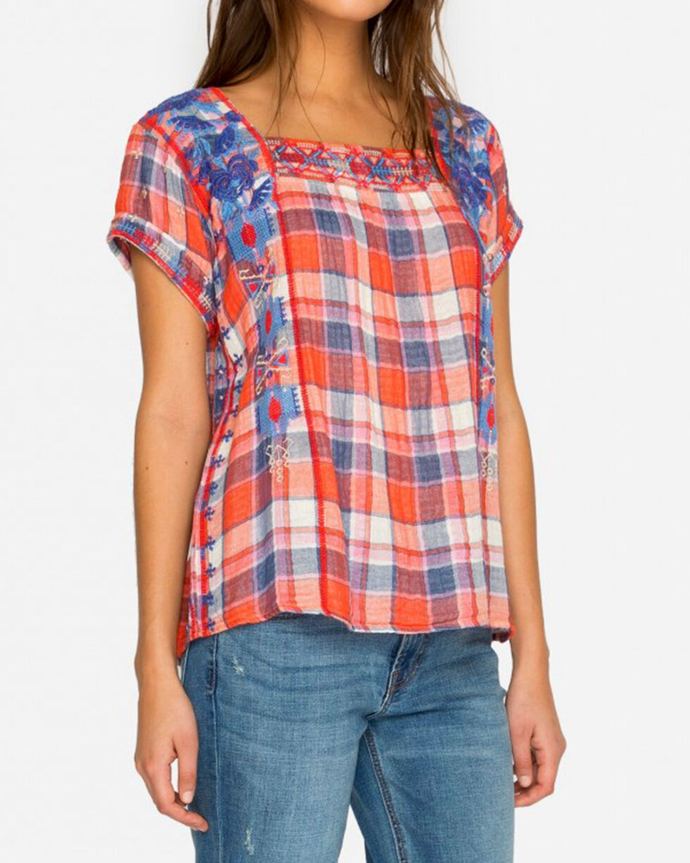 Johnny Was Women's Red Zelda Mexican Peasant Top , Red, hi-res