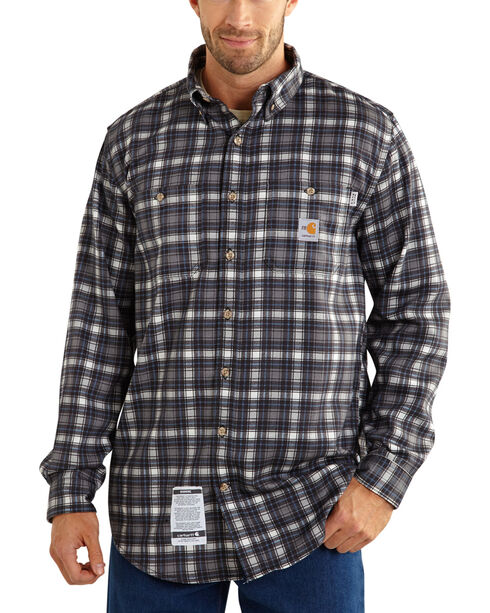 Carhartt Men's Flame Resistant Plaid Long Sleeve Shirt, Steel, hi-res