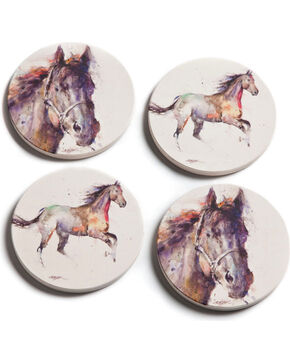 Big Sky Carvers Dean Crouser Horse Coasters, Cream, hi-res