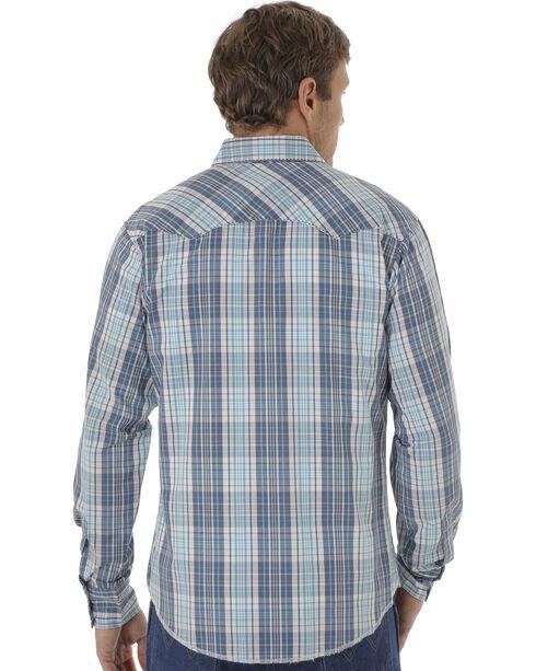 Wrangler Fashion Snap Men's Turquoise & Navy Plaid Western Shirts, Turquoise, hi-res