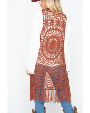 Wrangler Women's Rust Crochet Fringe Vest , Rust Copper, hi-res