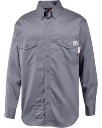 Wolverine Men's Grey Firezero FR Twill Long Sleeve Shirt, , hi-res