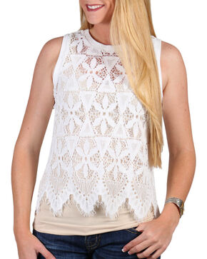 Shyanne® Women's Allover Lace Tank Top, White, hi-res