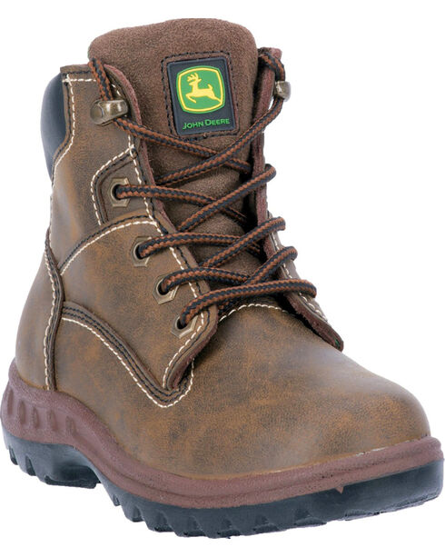 John Deere® Kid's Distressed Lace-Up Work Boots, Distressed, hi-res
