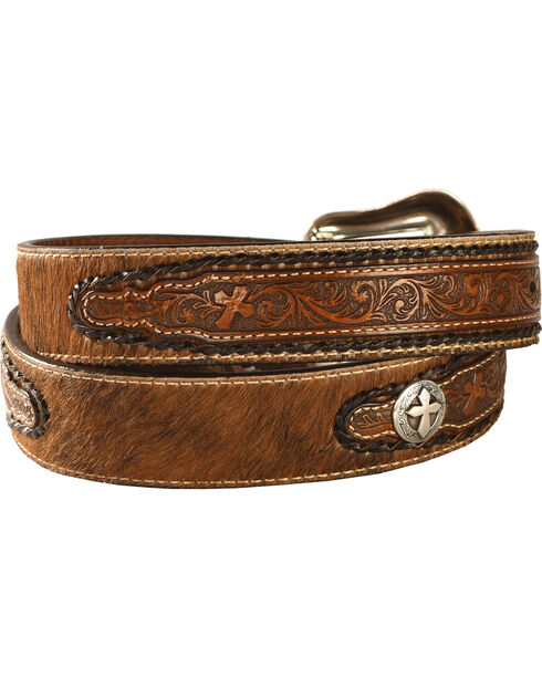 Nocona Tooled Cross Concho Belt, Tan, hi-res