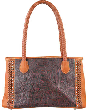 Trinity Ranch Montana West Women's Embossed Double Handled Handbag, Brown, hi-res