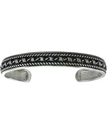 Montana Silversmiths Men's Narrow Antiqued Barbed Wire and Twisted Rope Cuff Bracelet , , hi-res