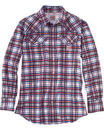 Carhartt Men's Red Flame-Resistant Snap-Front Plaid Shirt - Tall , , hi-res
