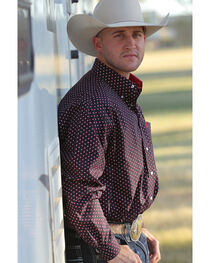 Cinch Men's Long Sleeve Navy Printed Plain Weave Button Down Shirt, , hi-res