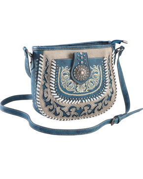 Montana West Women's Grey Floral Embroidered Crossbody , Grey, hi-res