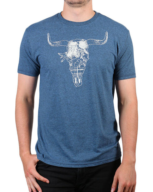 Cody James® Men's Steer Skull Short Sleeve T-Shirt, Heather Blue, hi-res