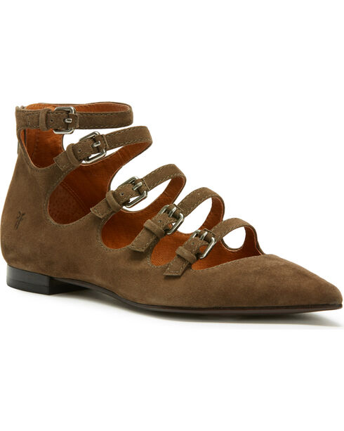 Frye Women's Sienna Buckle Ballet Flats - Pointed Toe, Taupe, hi-res