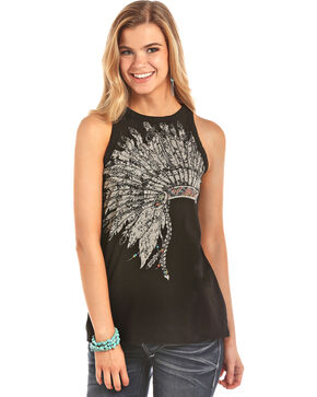 Rock & Roll Cowgirl Women's Headdress High Neck Tank, Black, hi-res