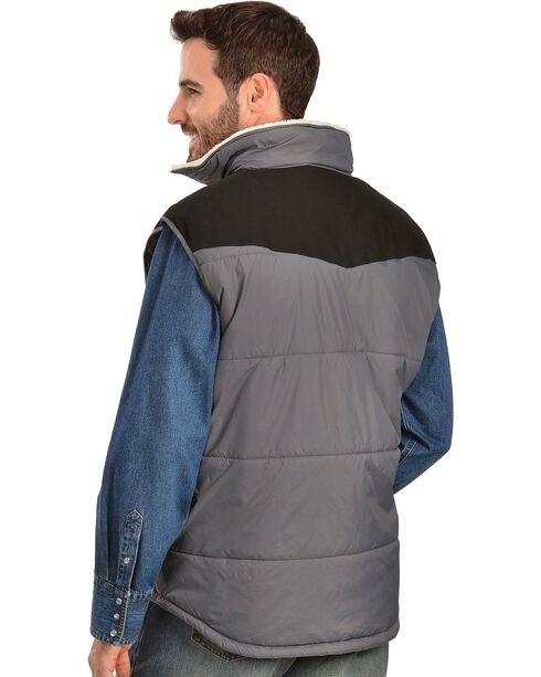 Wrangler Soft Shell Sherpa Collar Vest, Charcoal Grey, hi-res