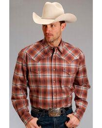 Stetson Men's Rust Copper Long Sleeve Plaid Shirt , , hi-res