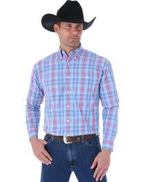 Wrangler George Strait Men's Blue Plaid Long Sleeve Shirt, , hi-res