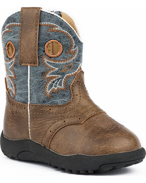 Roper Infant Boys' Daniel Distressed Saddle Vamp Cowbabies Boots, Brown, hi-res
