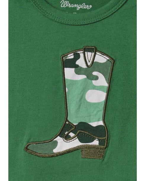 Wrangler Infant Boys' Long Sleeve Green Cowboy Boot Bodysuit, Green, hi-res