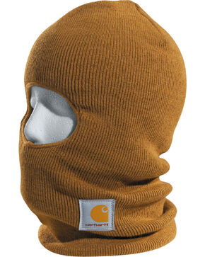 Carhartt Men's Ribbed Knit Face Mask, Brown, hi-res