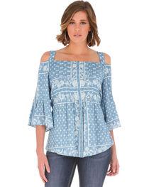 Wrangler Women's Blue Ruffle Sleeves Top , , hi-res