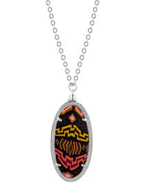Jilzarah Sunset Silver Frame Pendant Necklace, , hi-res