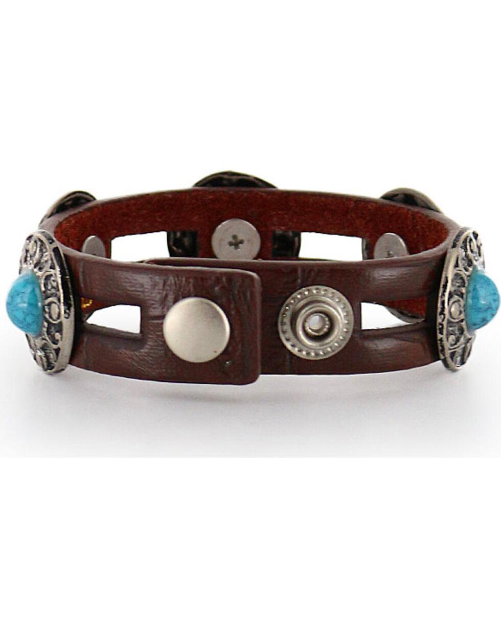 Shyanne® Women's Leather Concho Bracelet, Brown, hi-res