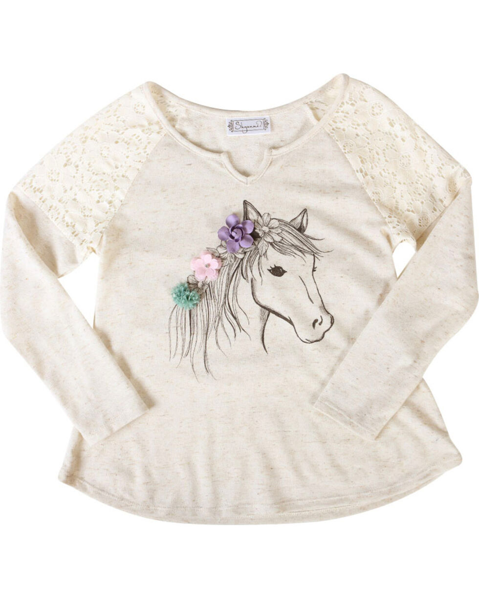 Shyanne® Girls' Dream Pony Long Sleeve Shirt, Ivory, hi-res