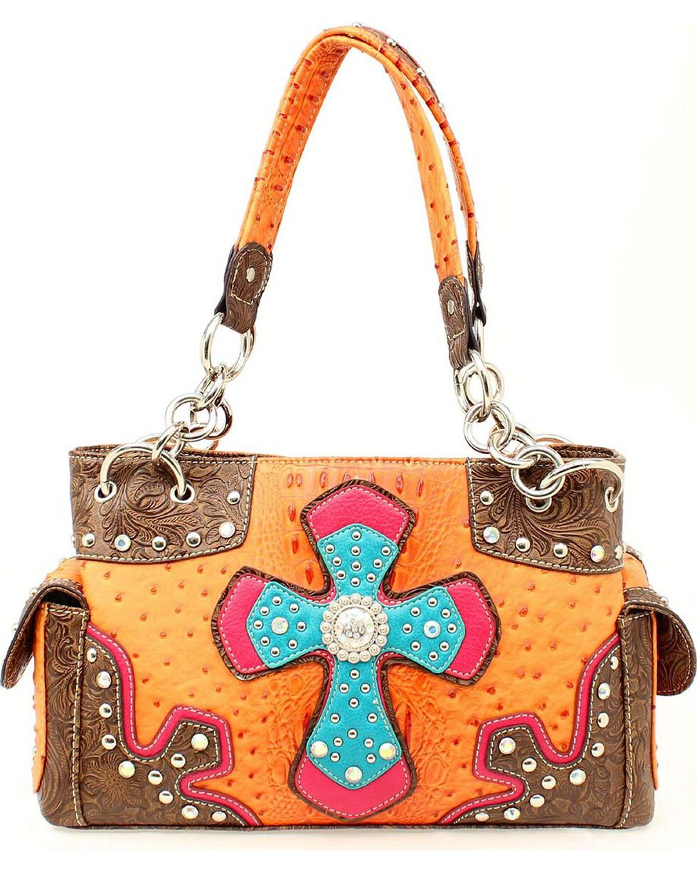 Blazin Roxx Faux Ostrich and Cross Purse, Orange, hi-res