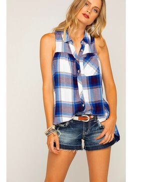 Shyanne Women's Royal Blue Plaid Sleeveless Shirt, Blue, hi-res
