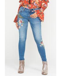 Miss Me Women's Indigo Floral & Bird Embroidered Jeans - Skinny , , hi-res