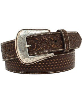 Nocona Men's Brown Basketweave Embossed Belt, Brown, hi-res