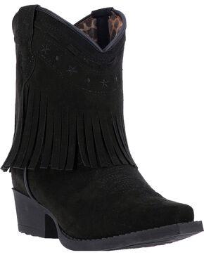 Laredo Girls' Zena Fringe Western Boots, Black, hi-res