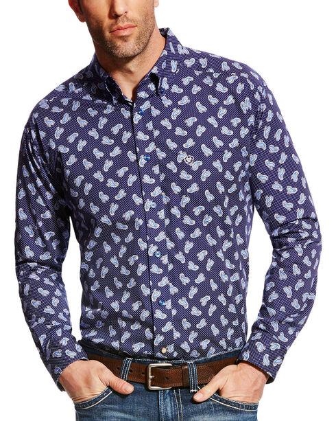 Ariat Men's Navy Duval Print Western Shirt - Big & Tall , Navy, hi-res