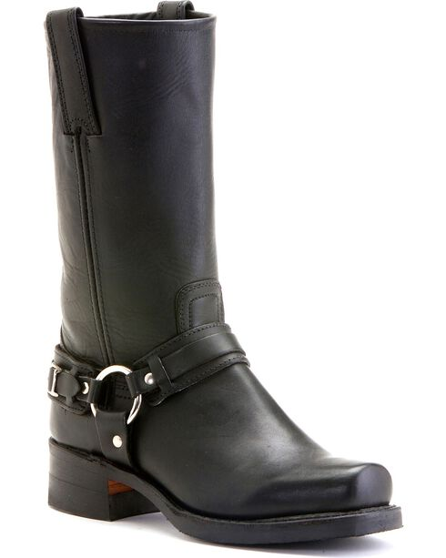 Frye Men's Belted Harness Motorcycle Boots, Black, hi-res