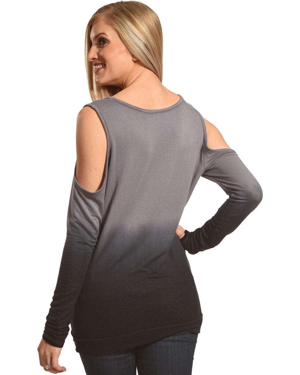 Rock & Roll Cowgirl Women's Dip Dye Cold Shoulder Long Sleeve Top, Black, hi-res