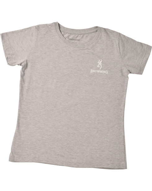 Browning Women's Heather Grey Chalky American Flag Buckmark T-Shirt , Hthr Grey, hi-res