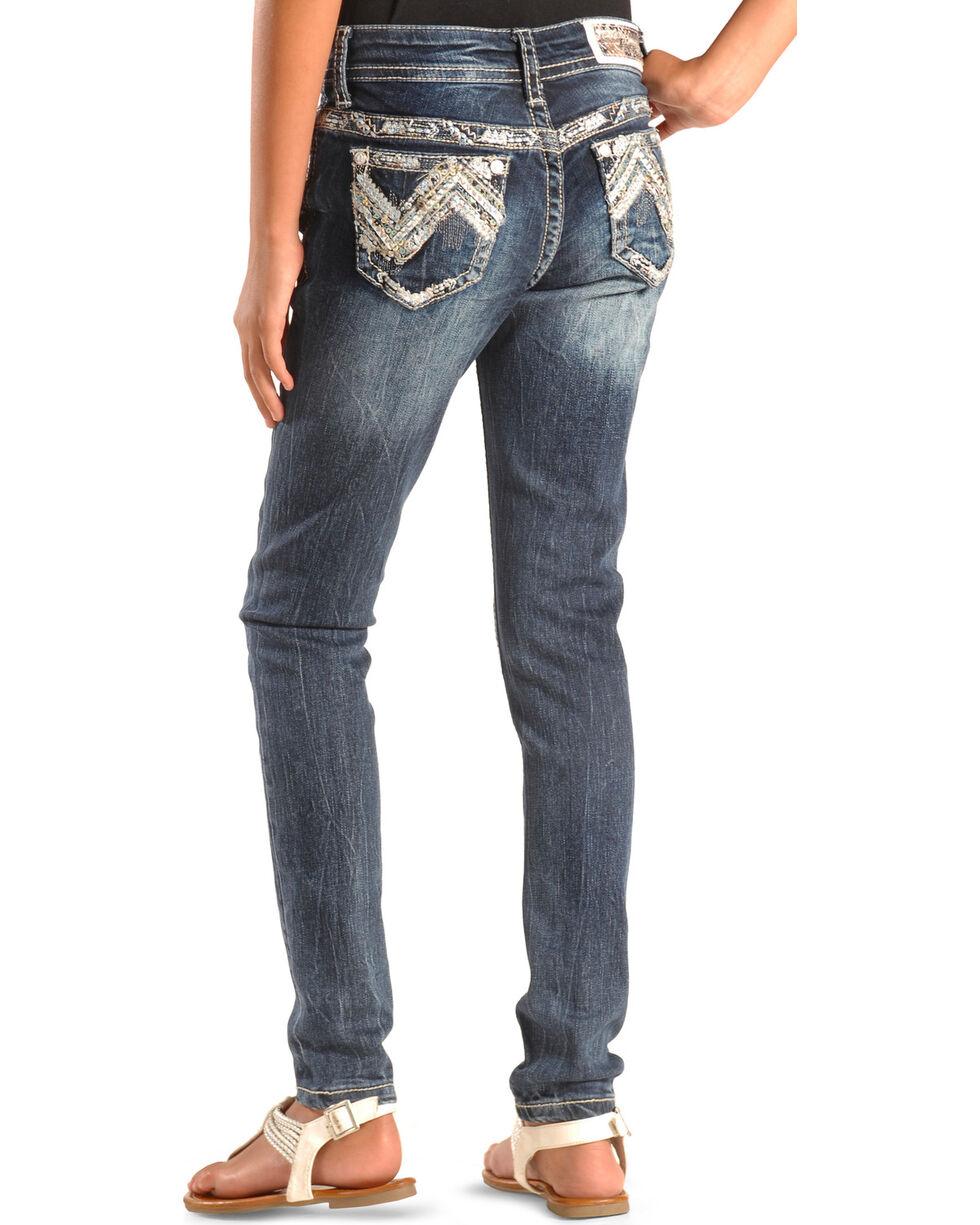 Grace in LA Girls' Zig Zag Stitch Skinny Jeans , , hi-res