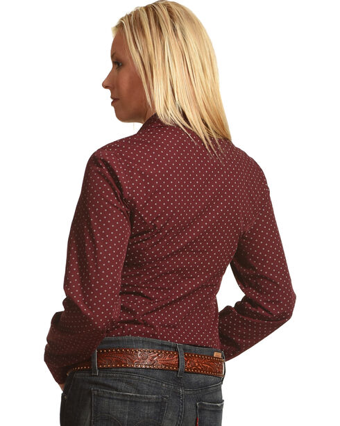 Shyanne Women's Geo Print Long Sleeve Western Shirt, Burgundy, hi-res