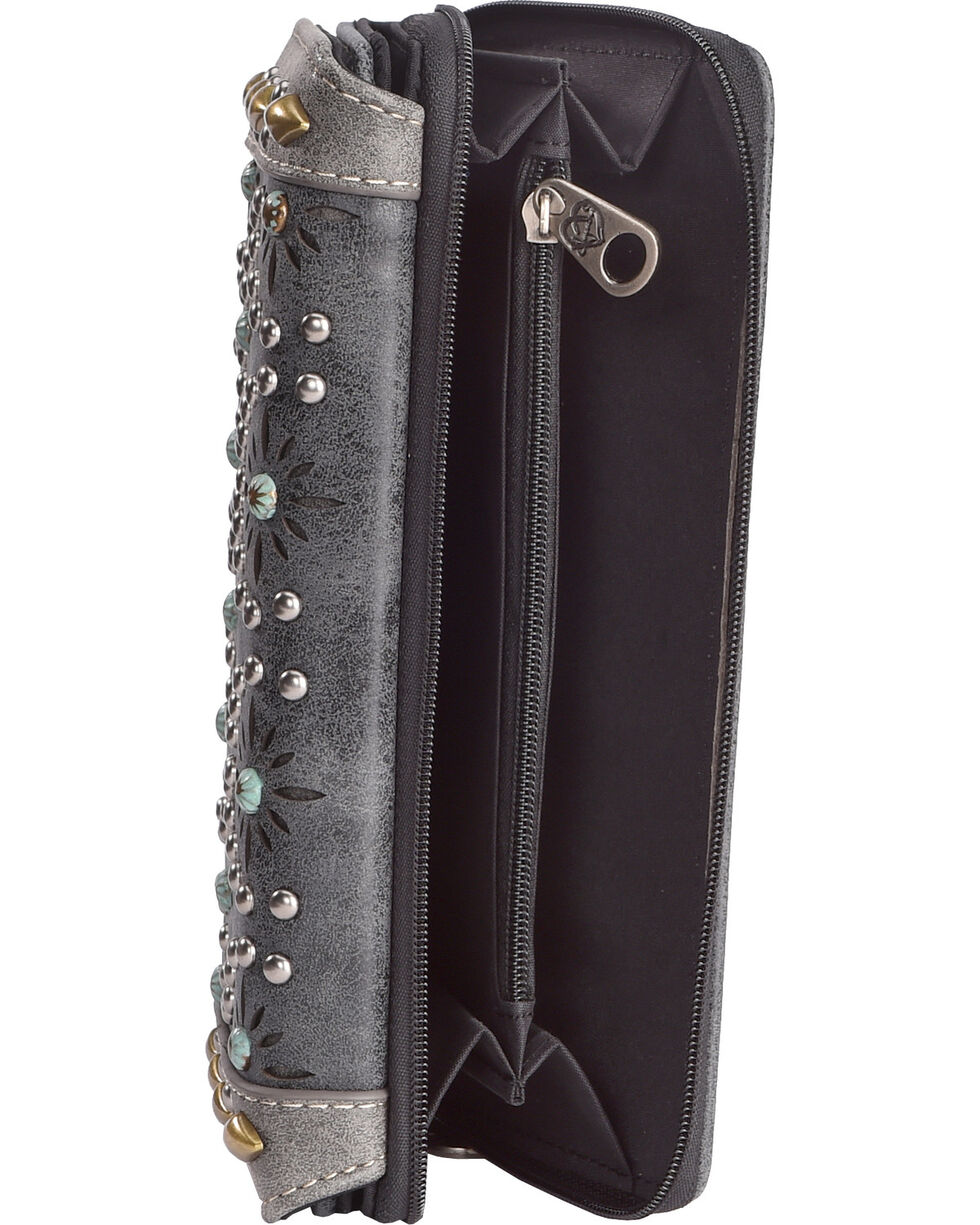Shyanne Women's Black Patine Stud Wallet, Black, hi-res