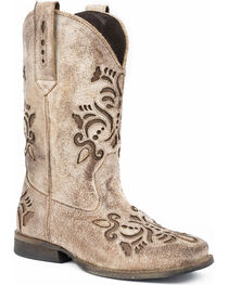 Roper Girls' Belle Floral Filigree Cutout Cowgirl Boots - Round Toe, , hi-res