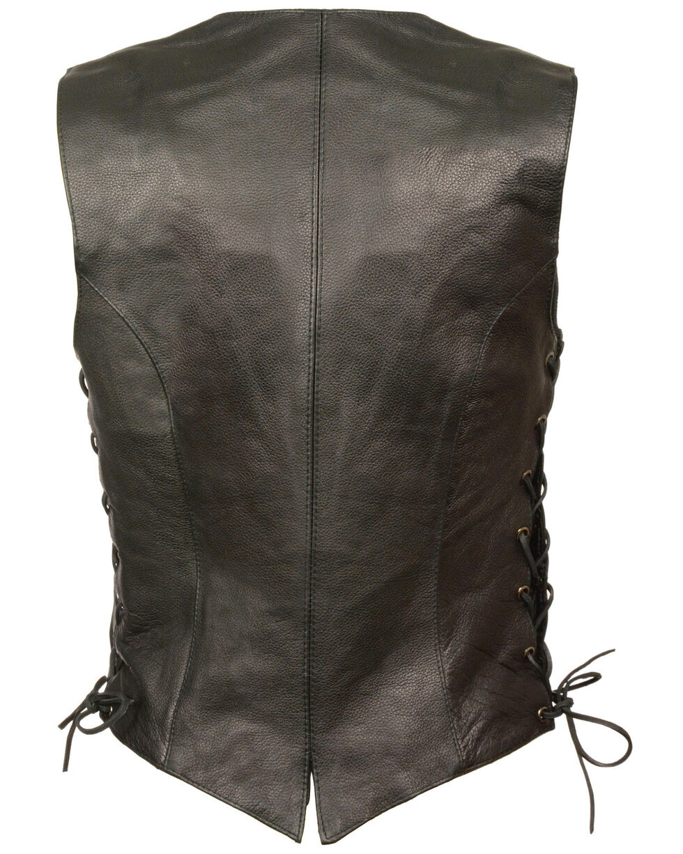 Milwaukee Leather Women's Classic Side Lace Vest - 5X, Black, hi-res